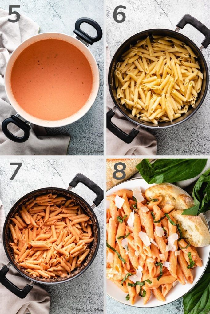 Collage of photos showing how to make penne alla vodka.