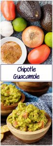 Two photos of ingredients for chipotle guacamole and finished dish in a collage for Pinterest.