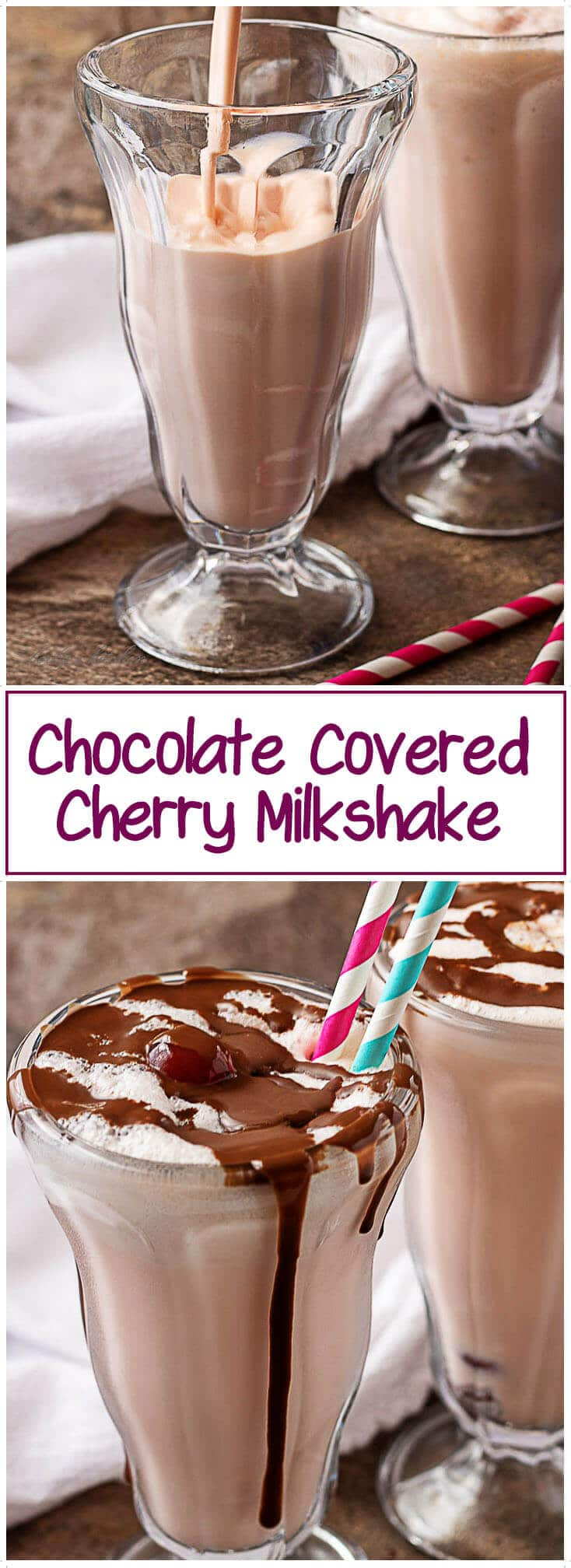 The chocolate covered cherry milkshake recipe, a shot of the finished shakes and a photo of the shake being poured into a glass.