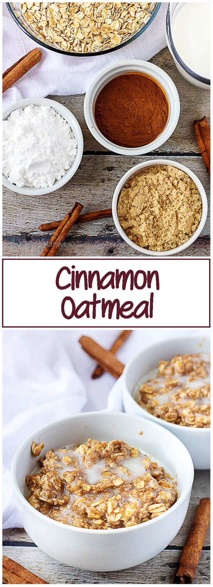 Swirls of cinnamon, brown sugar and vanilla cream cheese top soft, warm oatmeal in this inviting, protein filled breakfast dish. One bite of our cinnamon oatmeal and you'll be in love. #cinnamon #breakfast #comfortfood #sweet #oatmeal #berlyskitchen