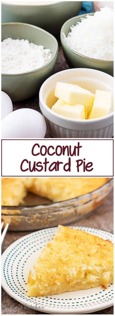 Collage of two Coconut Custard Pie pictures used for Pinterest.