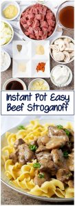Photos of beef stroganoff in a collage used for Pinterest.