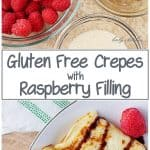Two photos, one of the ingredients like raspberries and butter, the other picture of the finished crepes on a white plate.