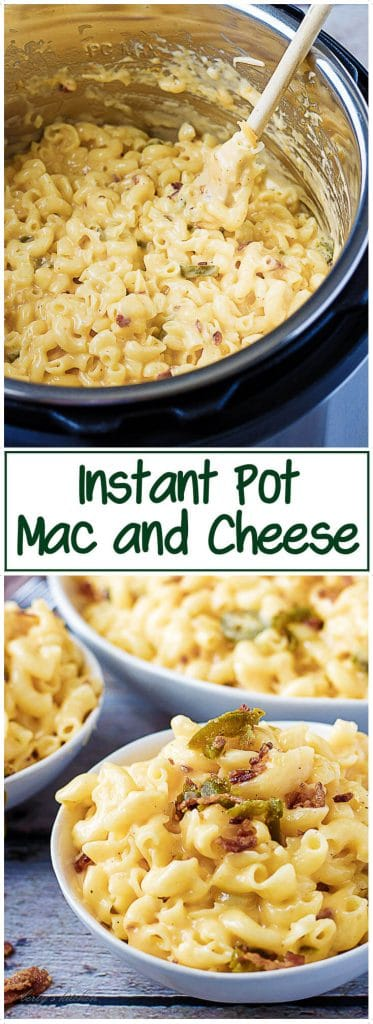 Collage of two photos of instant pot mac and cheese used for pinterest sharing.