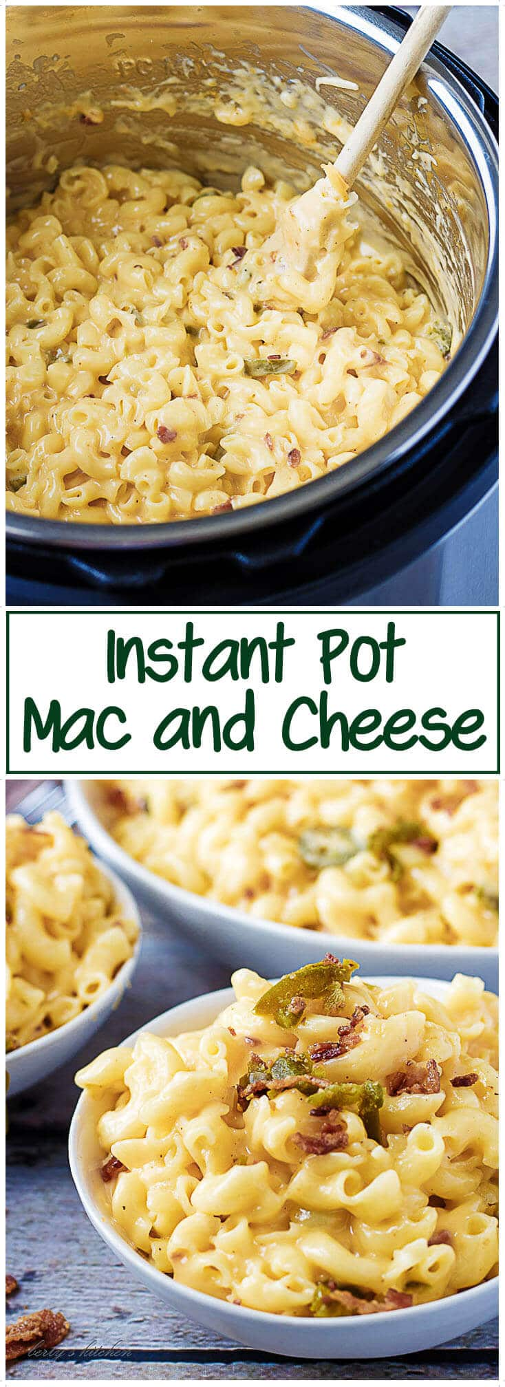 Instant Pot Mac and Cheese is the ultimate comfort food. It's full of creamy cheddar and Parmesan cheeses, bits of crunchy bacon, and spicy jalapenos. #InstantPot #macandcheese #cheese #cheesy #bacon #jalapenos #dinner #easyrecipe #quick