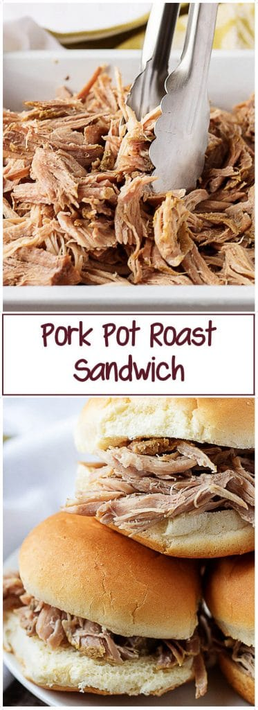 Collage of two pork pot roast photos for Pinterest.