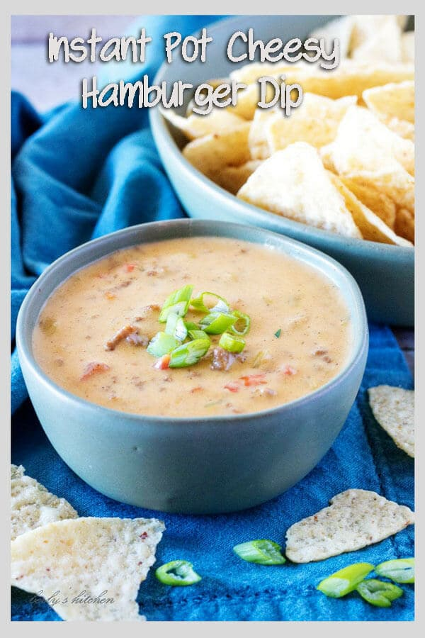 Instant Pot Cheesy Hamburger Dip is a meat and cheese dip match made in food heaven. Savory beef flavored with onions and taco seasoning is blended with creamy cheese, tomatoes, and green chiles. #appetizer #cheesedip #hamburgerdip #dip