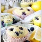 A long photo of the finished lemon blueberry muffins on small serving platters.