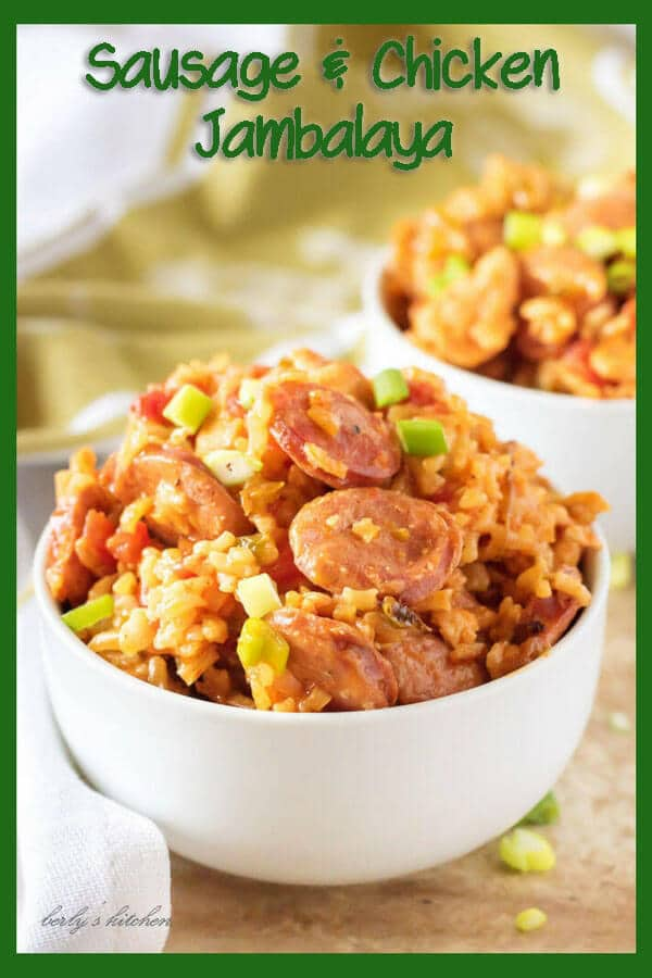 Photo of sausage and chicken jambalaya with text overlay for Pinterest.