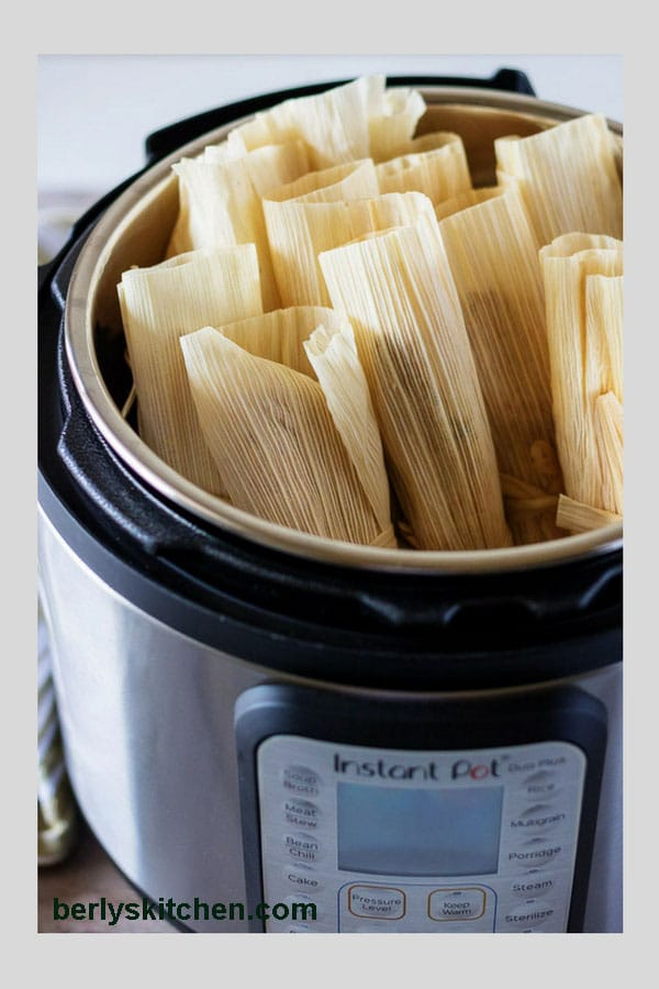 Photo of homemade tamales made in the Instant Pot used for Pinterest.