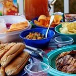 A photo of the finished food outside for your backyard bash.
