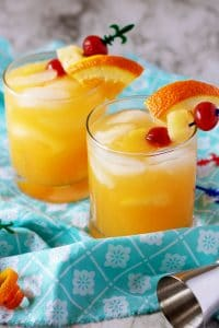 Photo of two rum mixed drinks used for Pinterest.
