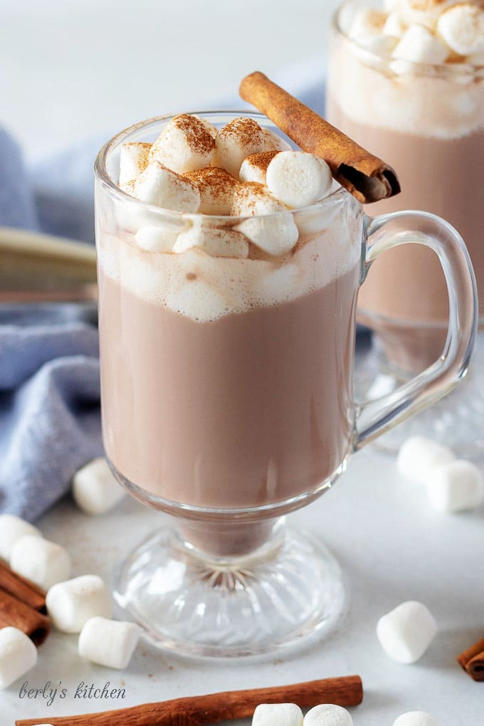 A close-up picture of the spiked hot chocolate in a mug, topped with marshmallows and cinnamon, and garnished with a cinnamon stick.