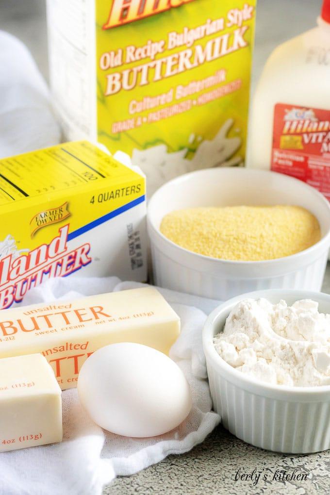 Hiland Dairy milk, buttermilk, butter, flour, and cornmeal used for a buttermilk cornbread recipe.