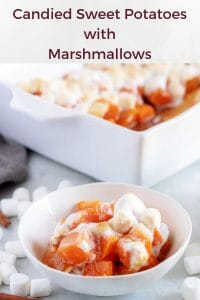The candied sweet potatoes in white baking dish and served in a white bowl.