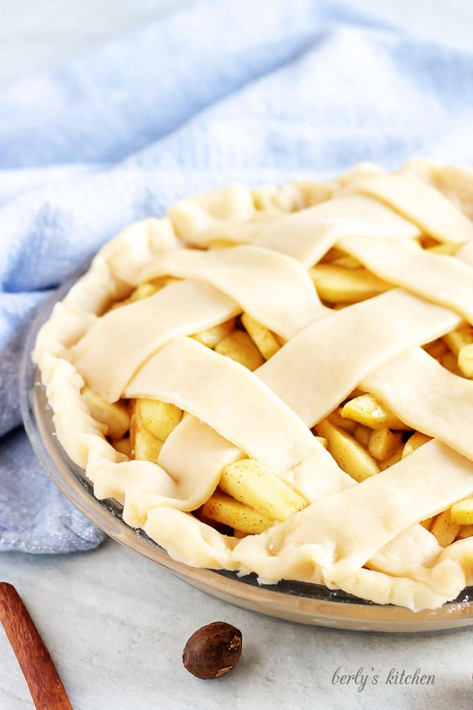 Another photo showing the Granny Smith apple pie topped with the lattice dough.