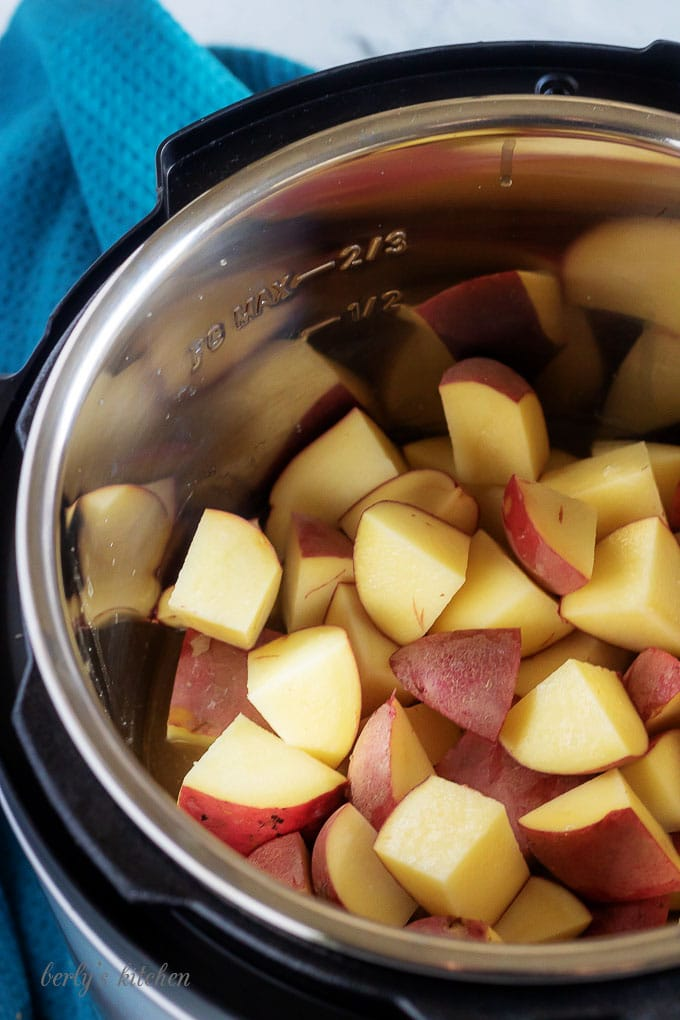 An aerial picture of the diced red potatoes sitting in the pressure cooker.