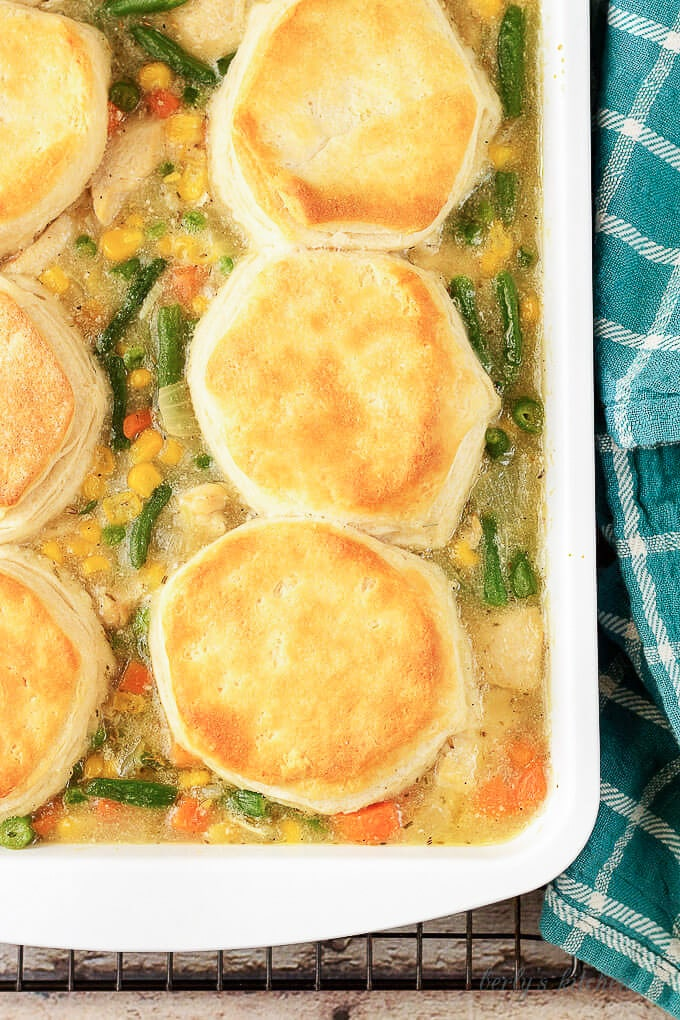 The finished chicken pot pie, in a large baking dish, just before serving.