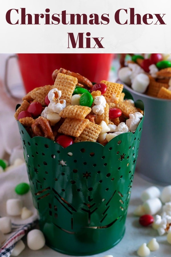 Photo of Christmas Chex Mix used for Pinterest.