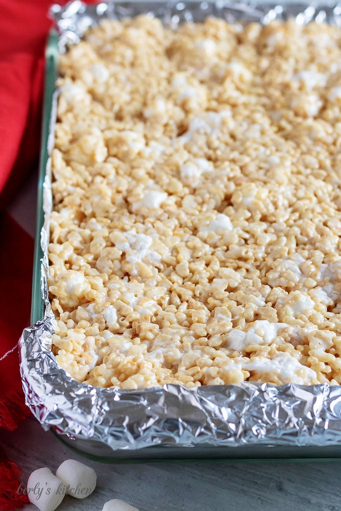 Baking dish with the perfect rice krispie treats.