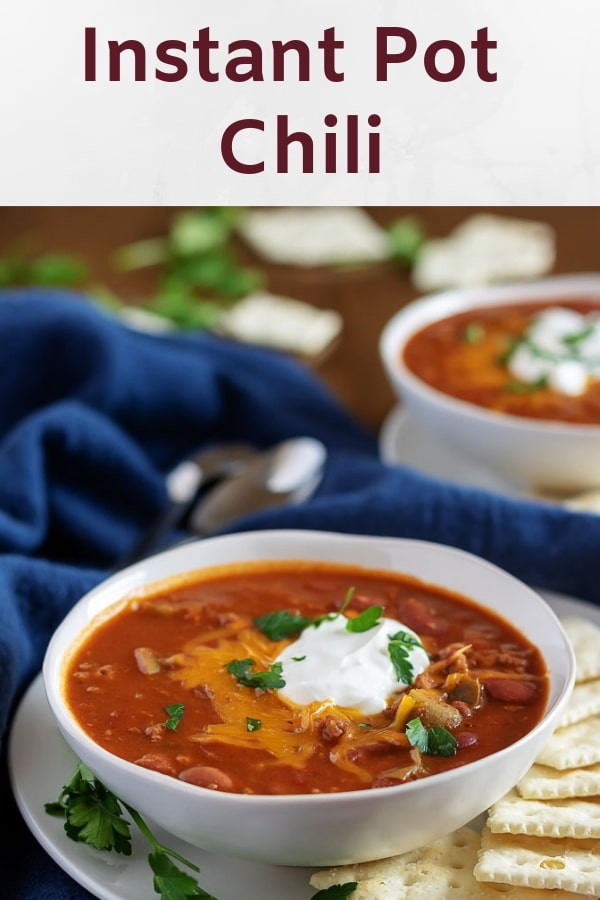 Photo of Instant Pot chili used for Pinterest.