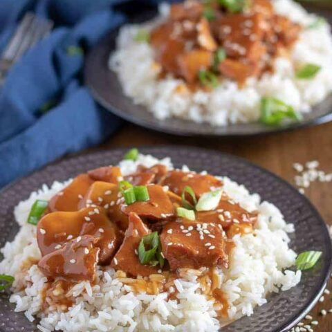 The honey garlic chicken, over rice, garnished with sliced green onions.