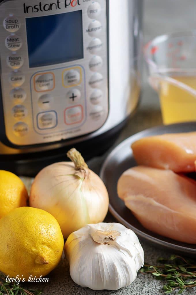 The lemon chicken recipe ingredients like garlic, onions, and fresh lemons.