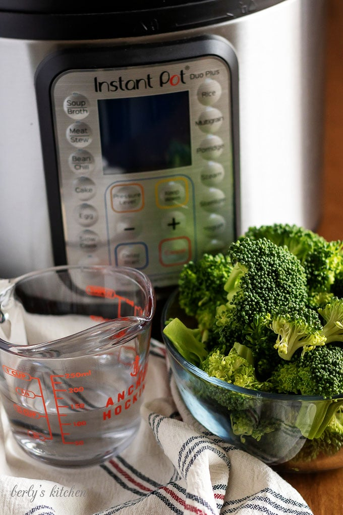 The steamed broccoli recipe ingredients like water and fresh broccoli.