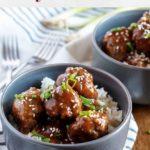 Photo of Instant Pot Teriyaki Meatballs used for Pinterest.