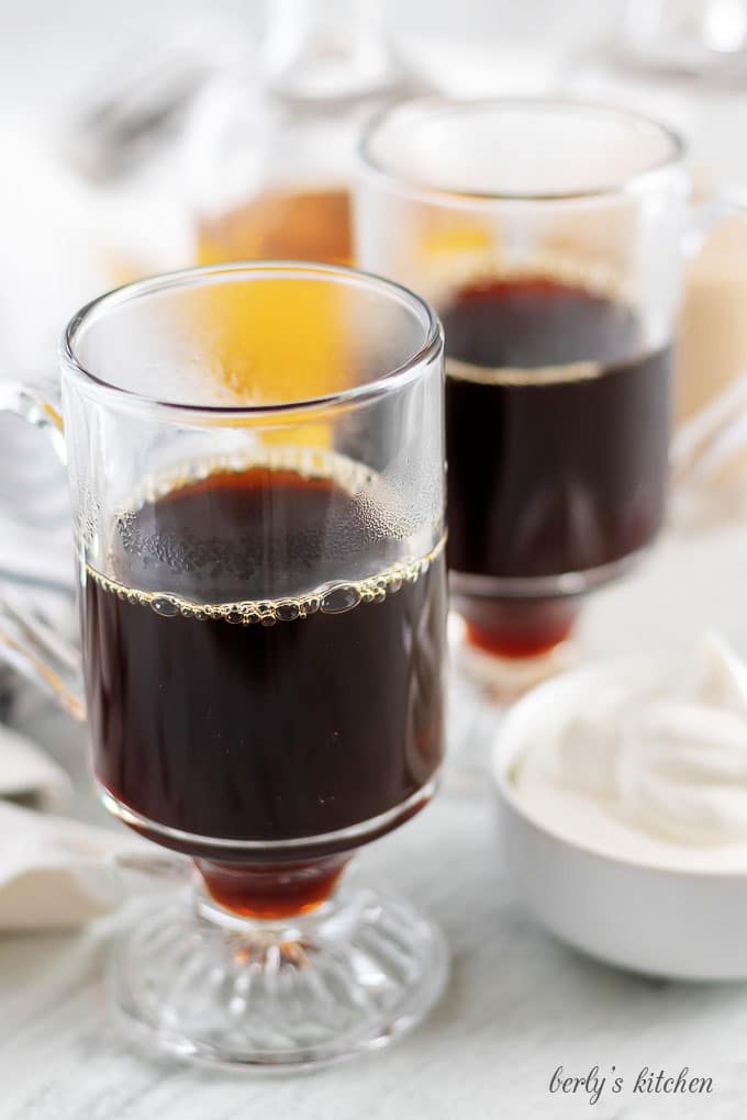 The Nutty Irishman ingredients like coffee, whipped cream, and hazelnut liqueur.