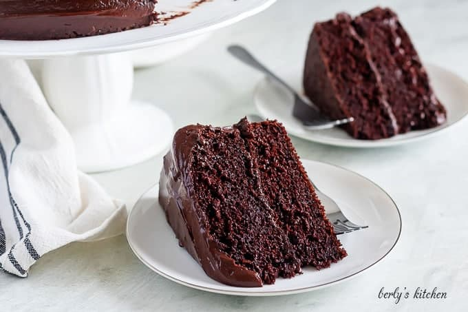 Two slices of the chocolate cake, showing the layers and ganache.