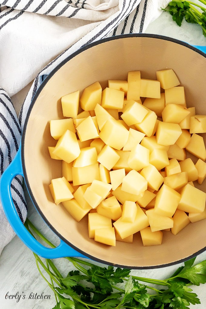 Diced potatoes, in a large pot, just before being cooked.