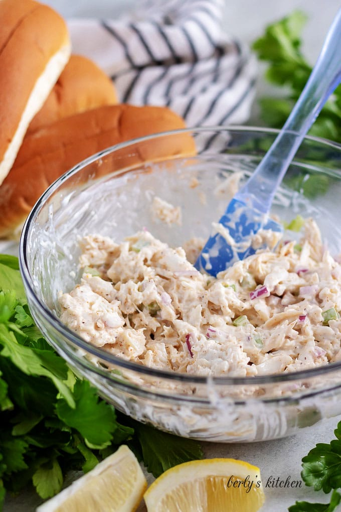 The crab salad filling has been mixed and is ready for buns.