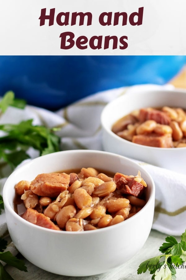Close-up shot of the ham and beans, served in two bowls.