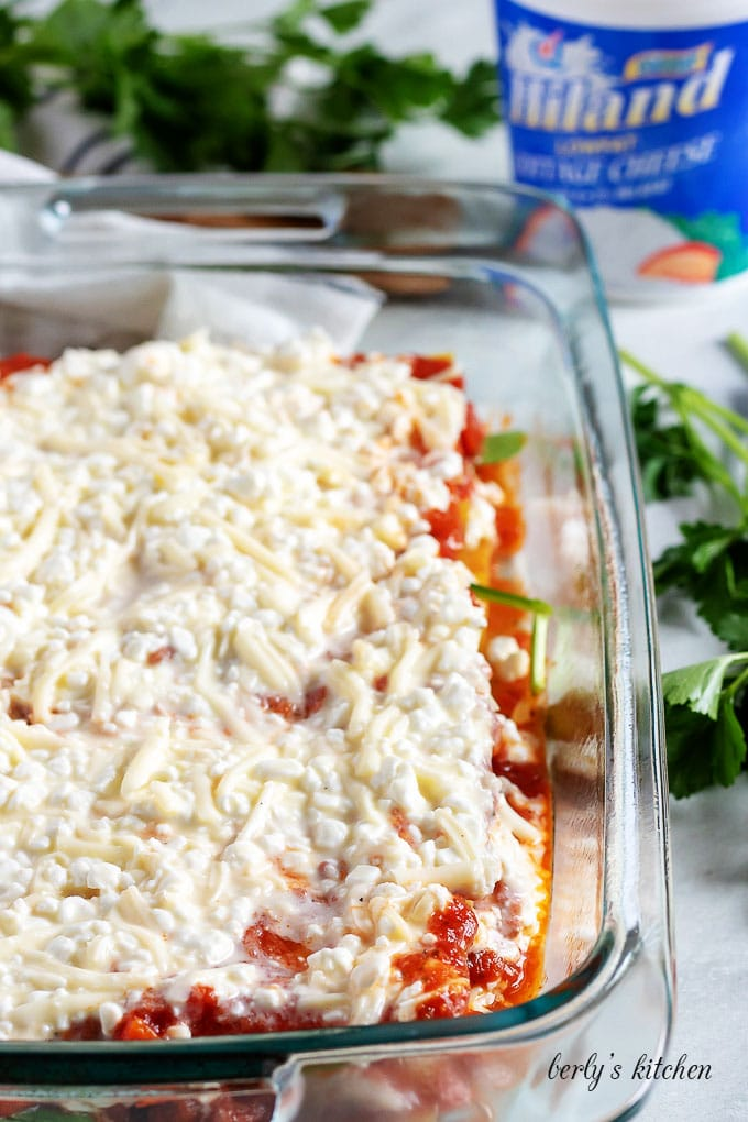 The cottage cheese filling spread over the pasta sauce and noodles.