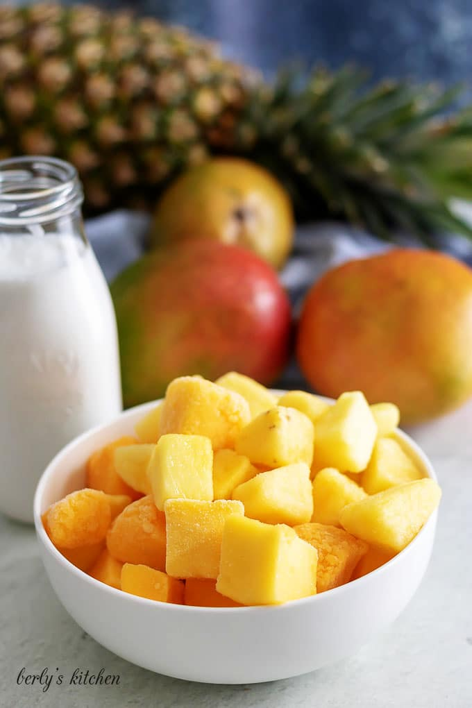 All of the smoothie ingredients like frozen mango, pineapple, and coconut milk.
