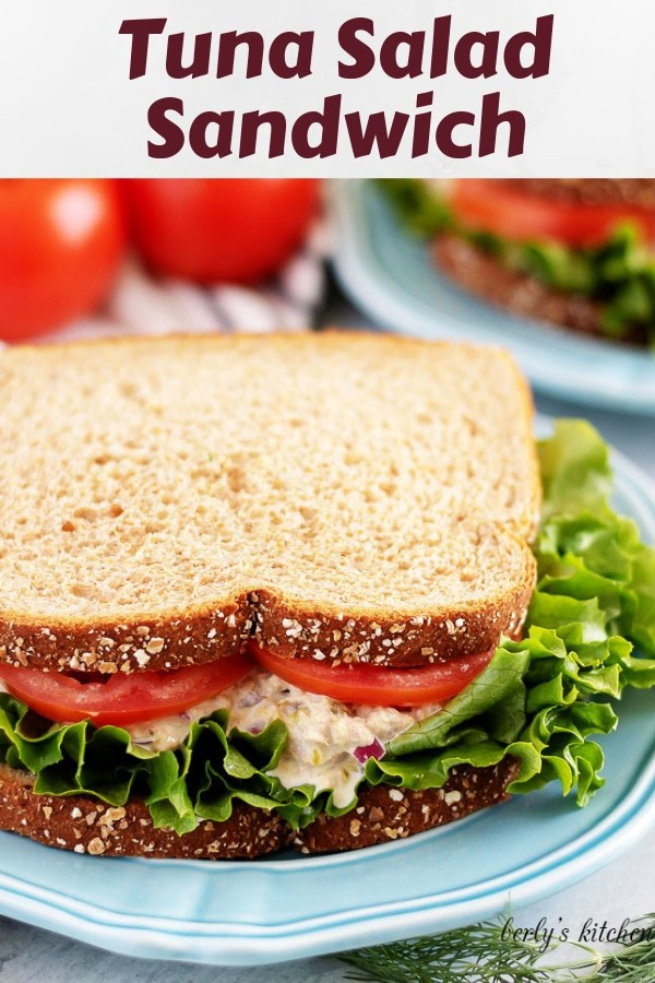 A simple tuna salad sandwich served on whole wheat bread.