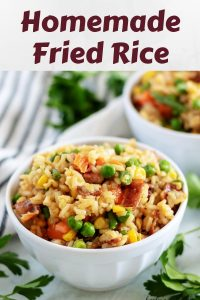 A large photo of the finished homemade fried rice in a bowl.