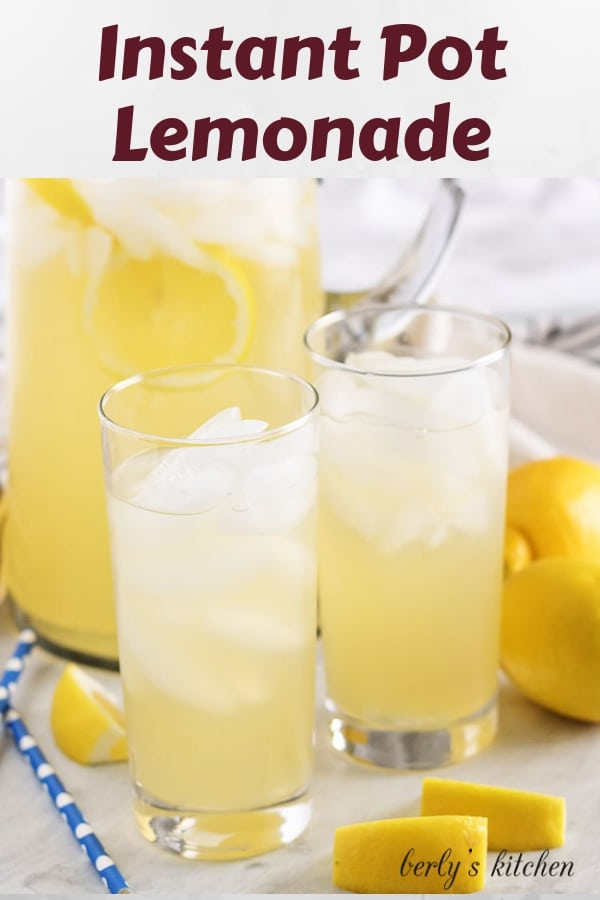 Instant Pot lemonade served in a pitcher with ice and lemon slices.