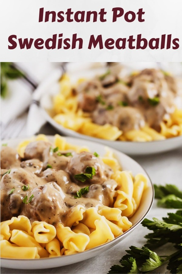 The Swedish meatballs served over pasta noodles garnished with parsley.