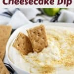The key lime cheesecake dip, in a bowl, garnished with cracker crumbs.