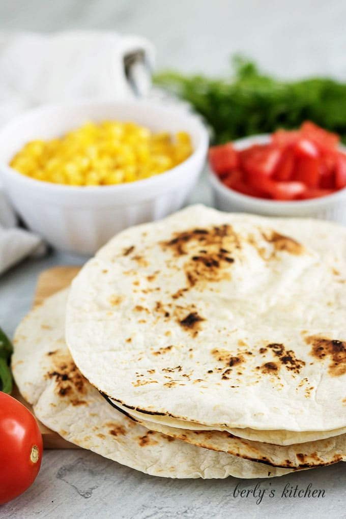 An ingredient picture showing the tortillas needed for the turkey tacos.