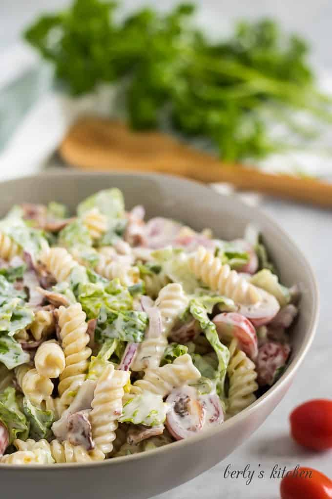 Photo of the pasta salad in a serving dish accented with parsley.