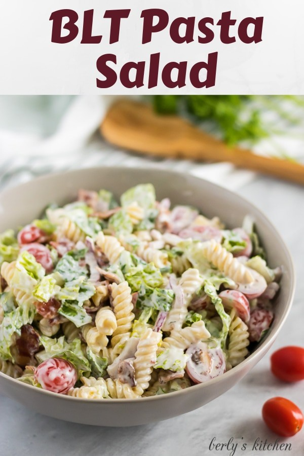 The BLT pasta salad served in a large serving bowl.