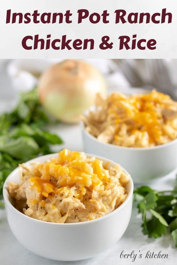 Two bowls of Instant Pot ranch chicken and rice topped with cheese.