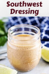 The finished Southwest dressing served in a small mason jar for storage.