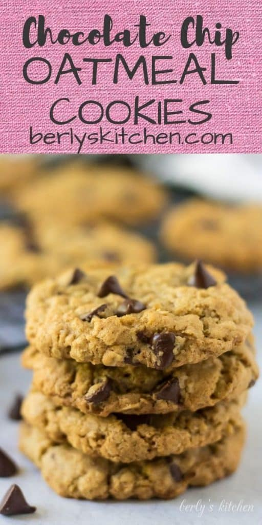 A large stack of the easy oatmeal chocolate chip cookies.