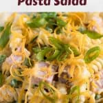 A close-up view of the finished ham and cheese pasta salad.