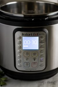Instant Pot showing 30 minute timer on the yogurt function.