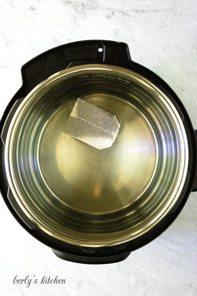 Tea bag in water in the Instant Pot.